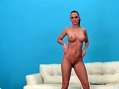 Jennifer Dark gets naked and gropes her tits