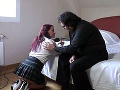 Dumpy red haired hooker fucks with ugly 4 eyed priest