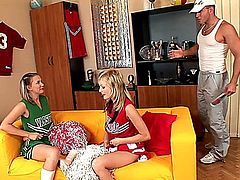 Sexy Euro babes, Bianca Golden and Sugar Baby, dressed up as cheerleaders, team up to take on a man, eating out each other's sweet shaved pussies, sucking cock and of course each getting herself a good fucking in the process, in this hot three-way group sex session.