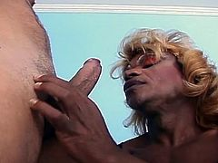 Watch this horny ebony shemale sucking and fucking a sexy asian gay dude.