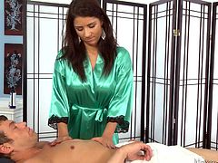 This masseuse looks so tempting in her mini robe and, when she rubs her client's tense muscles, she knows, that he wants a little bit more, than just a rub down. She puts her hands and mouth on his cock, and sucks him off.