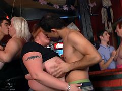 BBW matures with massive titties found three younger guys and they seduced him wanting a group make out session and fuck right there in the pub right away.