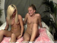 Nebraska Coeds brings you very intense free porn video where you can see how these amateur lesbian sluts play with their cunts for you while assuming very hot positions.