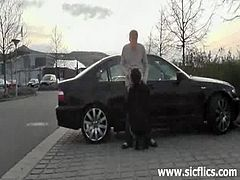 This skinny milf has her lover fisting her on a side-street. Next, she blows his dick by his car and he splatters her face with cum. They go elsewhere and she rides a bottle.