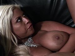 Bridgette B gets pussy fucked and fake tits caressed before facial cumshot