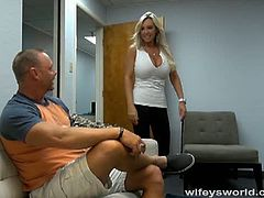 Blonde wife with huge tits so horny at that time and starts removing her boss' shorts and start sucking and licking his cock making him cum into her mouth.