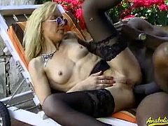 Checkout this sexy blonde mature slut Charley Spark in this outdoor butt fucking scene.See how that huge black cock drills her tight cunt and ass hole in here.