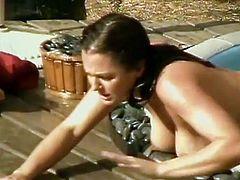 Hot babe with bhuge saggy tits finds her boyfriend in the outdoor jacuzzi smoking, she gets naked and joins him. He gets to damn horny as he sees her big jugs that he grabs her from behind and bangs her hard doggy style.