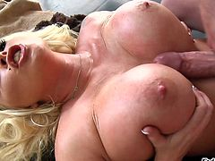 This busty blonde chick loves to take a huge cock in the mouth for a suck in a hardcore blowjob and receives a hot cumshot load.