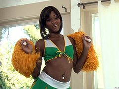 She has just finished cheering on the football team at the big game and now, this beautiful, little, black cheerleader is visiting her boyfriend for some fun. She spreads open her sexy legs and he buries his face in her snatch.