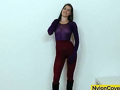 Zena is a brunette chick with a fetish for pantyhose. She chooses a red pair and a purple pair to cover her body with. She rides a black dildo after making a hole in her tights.