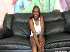 Unique Suitra is a redheaded black slut. She wanted to be a pornstar, but she was lousy at it, so these white guys humiliated her and fucked her black cunt.