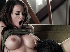 Brunette with big tits deepthroats,nailed and swallows cum in close up
