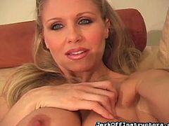 This lovely milf has her tits out and it doesn't take long before, that makes your dick hard. You know, you want her. She is such a tease. She shows off her amazing legs and full tits, as she stand over top of you and instructs you, to jerk your cock, and shoot you cum on her.