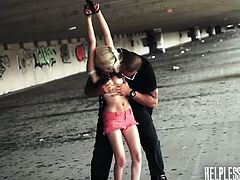 Piper Perri going hitchhiking only to found out she was trapped and got handcuffed by these pervert and force her to suck his cock while driving. These two goes into his hideout and tied the teen in a vacant warehouse and fuck her there.