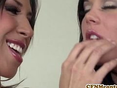 CFNM Secret brings you a hell of a free porn video where you can see how the alluring brunettes Madison Parker and Kayla Carrera share a hard cock while also going lesbo.