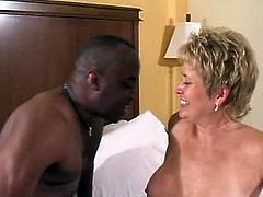This horny cougar got her old juicy pussy fucked big time in doggystyle as these two engages on their bed thrusting his big black cock on it like it is their first time fucking.