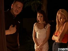 It seems Casey and her friend (played by the amazing hotties Riley Reid and Janice Griffith) got a bit naughty. They became shoplifters and got caught with a package of condoms. When the security guy brings them home, her step-dad is nearly speechless from the shock and anger. But Casey's slutty friend has the right method how to compensate Casey's step-daddy.