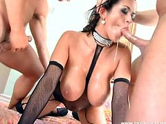 This is a naughty blowjob scene with a nasty brunette chick eating and sucking three huge cocks for a blowjob in a hot and huge cumshot load.