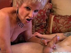 Horny old bitch sucking a big hard cock with her dirty wet mouth in a hot old-young blowjob video