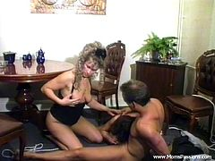 Marvelous cougar in nylon stocking giving huge dick blowjob before getting her pussy pinned hardcore in a reality threesome sex