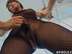 Japanese chick with huge tits and luscious body is all tied up and must contain herself as she was tortured with vibrators playing her nipples and her hairy cunt.