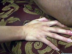 An Asian milf with big tits lets herself used in the dirtiest of ways. The slutty brunette woman loves to suck cock, while another horny one, is stuffed in her ass from behind. The blonde-haired milf, wearing high heels and a top with leopard prind, is also very hot. See naughty Ange's face covered in juicy cum!