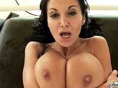 Nothing goes better than a ton of oil on Ava Addams's massive boobs. She gets fucked in the living room in all sorts of positions and places. She also gives a great titjob.