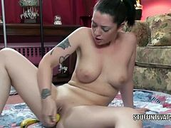 Chick Pass Amateur Network brings you a hell of a free porn video where you can see how the curvy tattooed brunette cutie Melina Mason dildos her cunt into heaven with a banana.