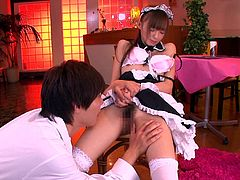 This sexy Japanese maid has her legs opened wide by her man, so he can get nice and close to her sweet vagina. After licking her nipples, the cosplay cutie gets eaten out by her man. It's the best oral sex she has ever had.