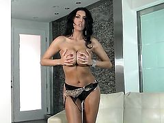 Dylan Ryder with juicy melons and bald beaver cant stop dildoing her snatch