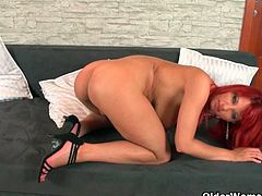 Gorgeous redhead MILF Vanessa and nasty mature wife Helga starting to get horny as they starts playing their hairy cunts with their fingers and pink dildo.