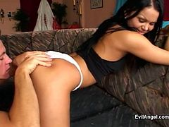 Brunette Pornstar Gives Blowjob And GetsPussy Banging And Asshole Fingering