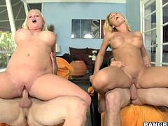 Sexy blonde babes Angel Vain and Nicole Aniston fuck two guys. Dudes pound them doggy style and then chicks show all their skills in cock riding. Horny blonde duet gets double cumshot at the end of the show.