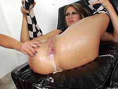 Skyler gets milk squirted out on her face by her lesbian lover. She rims her girlfriend and licks the milk out of her butthole. The big dildo gets shoved into the chick's gaping butthole. Look at how deep it goes.