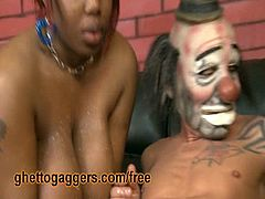 Ghetto Gaggers brings you a hell of a free porn video where you can see how this busty black whore deepthroats a horny clown while assuming very hot positions.