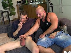 This handsome gay sweetheart had a hard cock to play with but gets a big black cock to bang him hardcore doggystyle in hot orgasm.