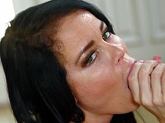 Nikki loves sucking cock. She loves everything about a big dick in her mouth, as you can see from the way she licks and sucks it. What she loves most, is a sticky load of cum on her face and she slurps, and jerks furiously at this guy's dong, trying to get that yummy jizz all over her lips and face.