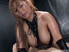 Delightful Japanese pornstar with bdsm fetish getting hammered doggy style