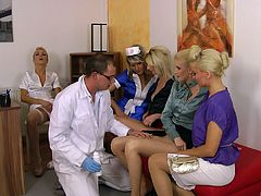 Kinky pornstars in sexy uniform enjoying a wild clothed sex groupsex action