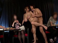 Japanese babe with huge tits Hitomi Tanaka takes on two guys