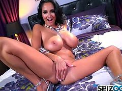 Sexy brunette MILF Ava Addams has an amazing bootie you can get lost in for days. Watch this sexy siren sprawl across this chair in her sexy lingerie then roll around like she's in heat. Stripping off every piece of her clothing to get to her private areas. She moans, squeals and rubs herself. Pleasing her tiny tight twat to an ultimate orgasm.
