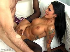 Angelina Valentine is a smoking hot brunette with huge melons. Watch this babe in stockings and high heels gets her wet pussy drilled hard and deep by her sex obsessed fuck buddy.Checkout this tattooed brunette Angelina Valentine gets fucked and big knockers jizzed. Enjoy!