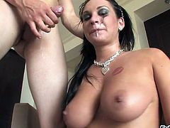 Face fucking Kitty Bella deepthroats and takes cumshot in mouth