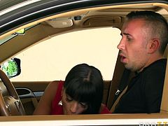 Mercedes is so lusty, she cannot help noticing the driver's cock, so she simply gets to job quickly. The deep throat blowjob the busty brunette performs, seems extremely pleasing and exciting. Click to watch the bitchy milf, enjoying the taste of a horny cock.