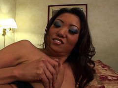 Horny Asian cowgirl moaning as her pussy is pounded hardcore doggy style in closeup shoot