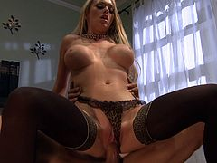 Adorable blonde babe with big tits giving an enchanting blowjob before getting screwed hardcore
