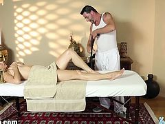 Gorgeous girl goes in into Tricky Spa to avail of their sensual relaxation massage service. She didn't have a choice and avail the tattooed masseuse which turns out to be her sex partner for that day.