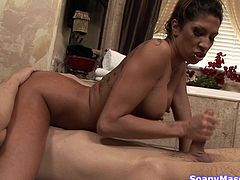 She is sensually covering her body with soap and water. Kayla washes her body and looks good, doing it. She slides her body all over his and rubs her big juicy tits against him. The hot slut sits on his face, as she sucks him off and wanks his dick.