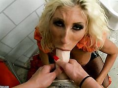 Blonde whore Phoenix Marie with massive knockers makes her tongue disappear in Puma Swedes twat